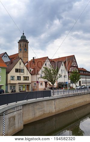 the embankment along the river Neckar in the Nurtingen in southern Germany