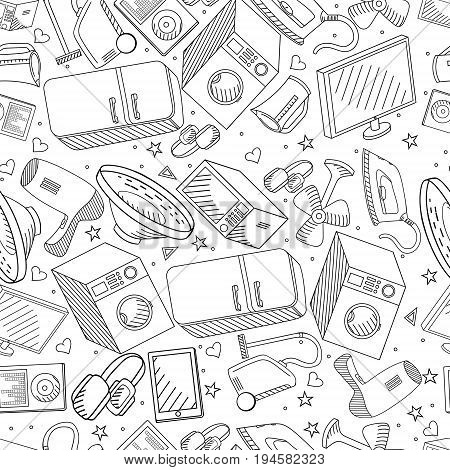Electronics seamless coloring book line art design vector illustration. Separate objects. Hand drawn doodle design elements.