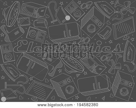 Electronics chalk line art design vector illustration. Separate objects. Hand drawn doodle design elements.