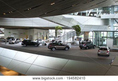 MUNICH GERMANY - JUNE 1 2012 : BMW cars presented at BMW World showroom in Munich Germany