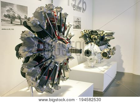 MUNICH GERMANY - JUNE 1 2012 :engines of cars and plane at the exposition of BMW Museum