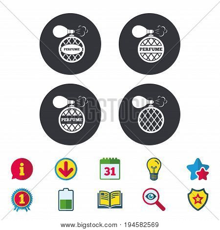 Perfume bottle icons. Glamour fragrance sign symbols. Calendar, Information and Download signs. Stars, Award and Book icons. Light bulb, Shield and Search. Vector