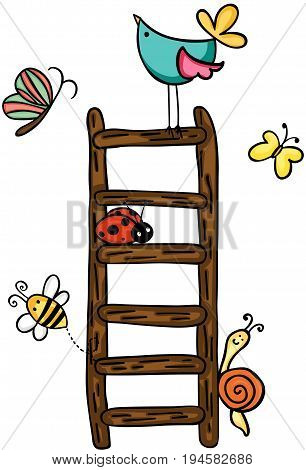 Scalable vectorial image representing a animals at vintage ladder, isolated on white.