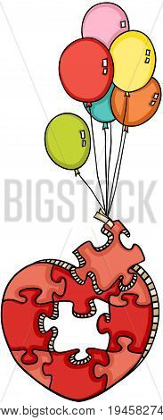 Scalable vectorial image representing a heart shaped puzzle flying with balloons, isolated on white.