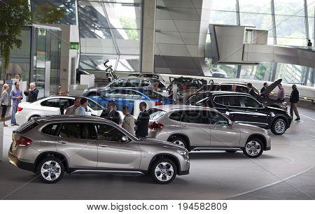 MUNICH GERMANY - JUNE 1 2012 : BMW cars presented at BMW World showroom in Munich Germany.