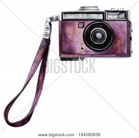Watercolor vintage SLR camera with pink body. Front view. Illustration isolated on white background