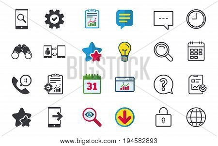 Phone icons. Smartphone with speech bubble sign. Call center support symbol. Synchronization symbol. Chat, Report and Calendar signs. Stars, Statistics and Download icons. Question, Clock and Globe