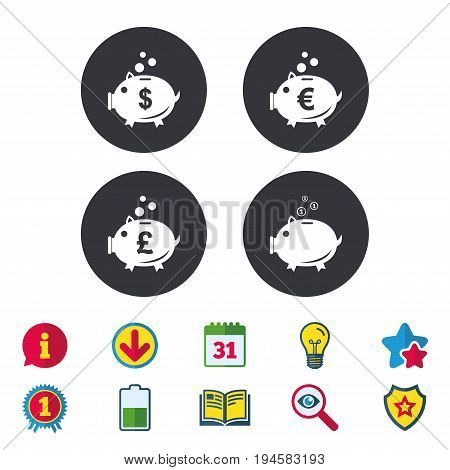 Piggy bank icons. Dollar, Euro and Pound moneybox signs. Cash coin money symbols. Calendar, Information and Download signs. Stars, Award and Book icons. Light bulb, Shield and Search. Vector