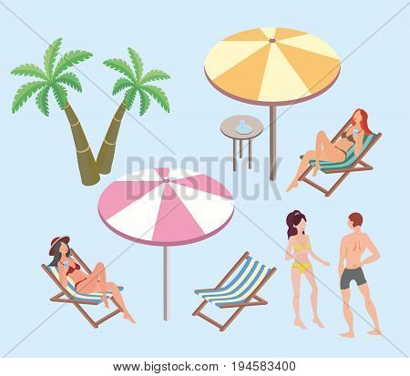 Summer vacation, beach resort. Women and a man resting on the beach. Beach umbrellas, deck chairs, palm trees. Vector illustration, isolated on blue background.