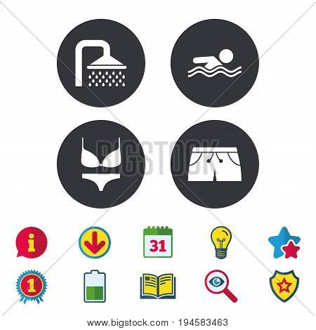 Swimming pool icons. Shower water drops and swimwear symbols. Human swims in sea waves sign. Trunks and women underwear. Calendar, Information and Download signs. Stars, Award and Book icons. Vector