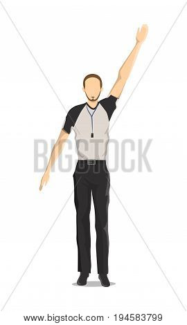 Isolated basketball referee on white background. Man with raising hand.