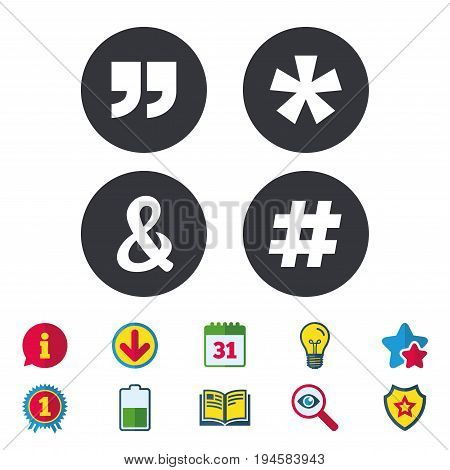 Quote, asterisk footnote icons. Hashtag social media and ampersand symbols. Programming logical operator AND sign. Calendar, Information and Download signs. Stars, Award and Book icons. Vector
