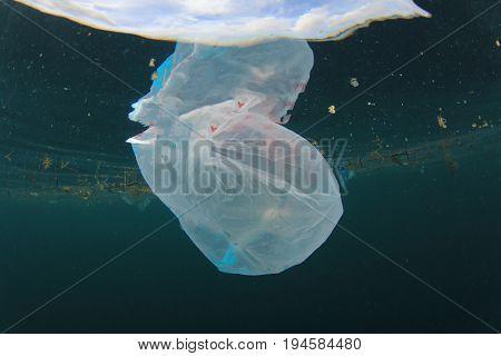 Plastic carrier bags pollution in ocean