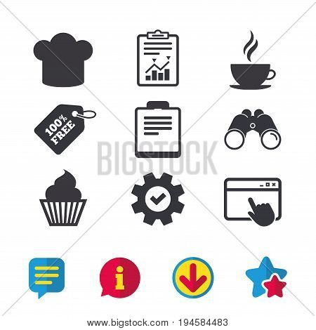 Coffee cup icon. Chef hat symbol. Muffin cupcake signs. Document file. Browser window, Report and Service signs. Binoculars, Information and Download icons. Stars and Chat. Vector