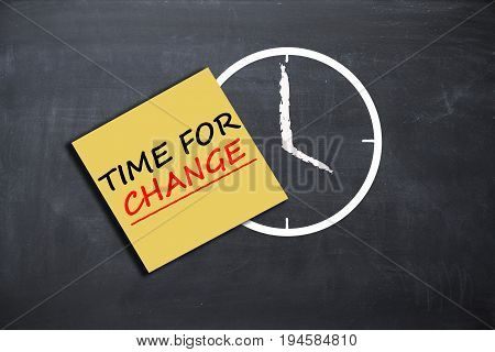 Time for change concept with alarm clock and paper note on school board