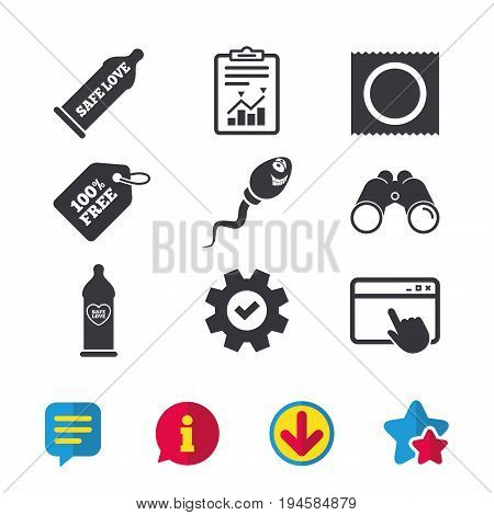 Safe sex love icons. Condom in package symbol. Sperm sign. Fertilization or insemination. Heart symbol. Browser window, Report and Service signs. Binoculars, Information and Download icons. Vector