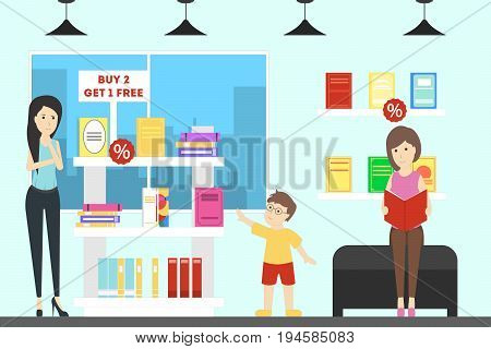 Book store interior illustration. People and children buy books.