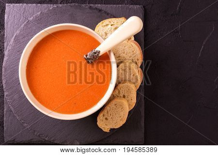 Italian Tomato Soup Gazpacho With Basil, Tomatoes And Baguette