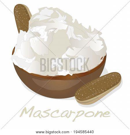 Mascarpone cheese isolated set on white .