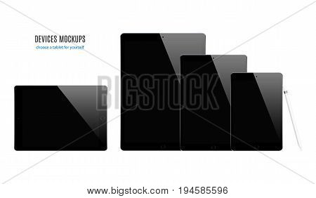 tablet mockup set black color with blank screen isolated on white background. stock vector illustration eps10