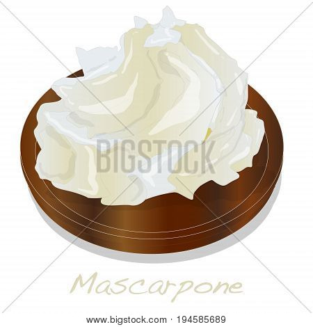 Mascarpone cheese isolated on weed plate .