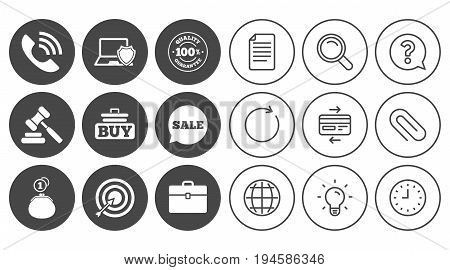 Online shopping, e-commerce and business icons. Auction, phone call and sale signs. Cash money, case and target symbols. Document, Globe and Clock line signs. Lamp, Magnifier and Paper clip icons