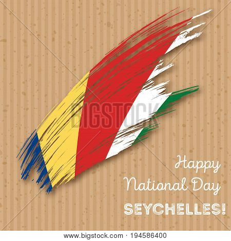 Seychelles Independence Day Patriotic Design. Expressive Brush Stroke In National Flag Colors On Kra