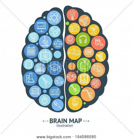 Human Brain Map Concept Card Left and Right Hemisphere Creativity, Imagination and Logic Think Function. Vector illustration