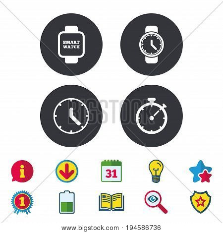 Smart watch icons. Mechanical clock time, Stopwatch timer symbols. Wrist digital watch sign. Calendar, Information and Download signs. Stars, Award and Book icons. Light bulb, Shield and Search