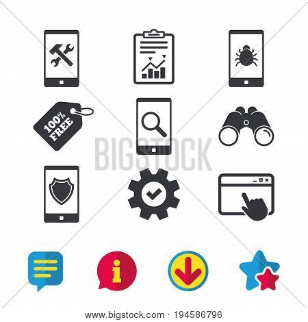 Smartphone icons. Shield protection, repair, software bug signs. Search in phone. Hammer with wrench service symbol. Browser window, Report and Service signs. Vector