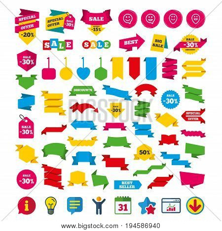 Happy face speech bubble icons. Smile sign. Map pointer symbols. Shopping tags, banners and coupons signs. Calendar, Information and Download icons. Stars, Statistics and Chat. Vector