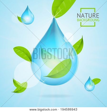 Nature Concept Transparent Purity Drop Water and Fly Green Leaves Trendy Ecology and Environment. Vector illustration