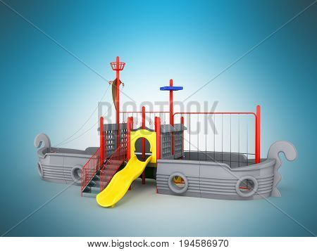 Playground For Children Ship Gray 3D Render On A Blue Background
