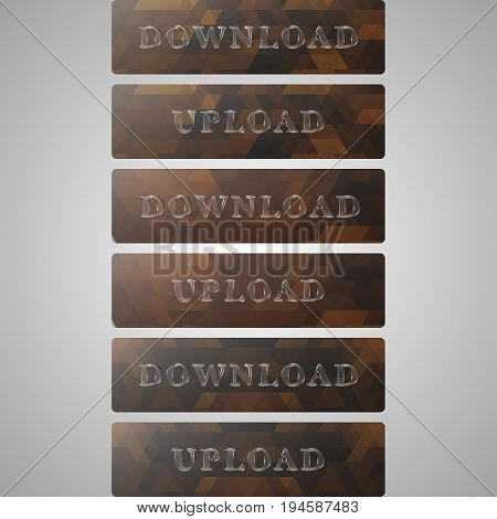 Vector illustration of different download and upload brown colored banners.