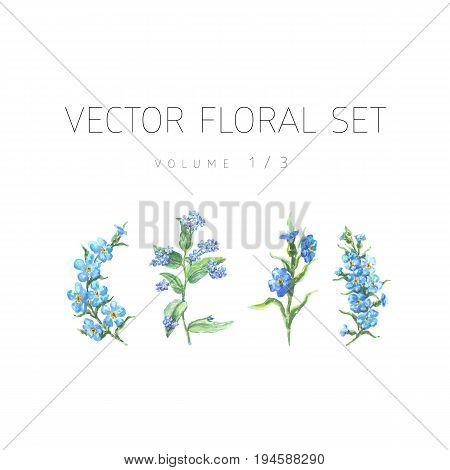 Bright watercolor set of vector flowers with leaf isolated on white background