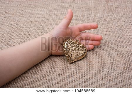 Heart Shaped Gold Color Metal Object