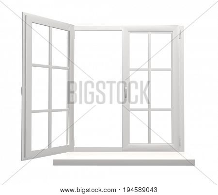 Window frame with one open and one closed flap. Isolated on white background. 3d render