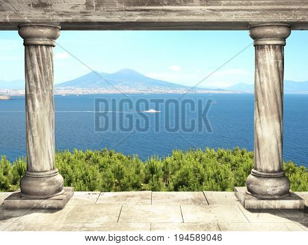 Frame with two medieval columns and top view on volcano Mount Vesuvius and  Mediterranean sea, Italy, Europe. 3d render
