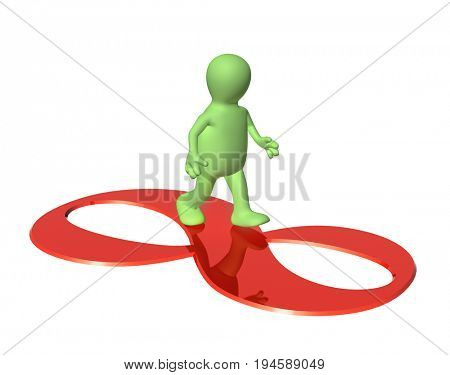 3d man of green color going on a sign infinity of red color. Isolated on white background. 3d render