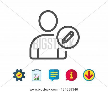 Edit User line icon. Profile Avatar with pencil sign. Person silhouette symbol. Report, Service and Information line signs. Download, Speech bubble icons. Editable stroke. Vector