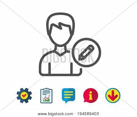 Edit User line icon. Profile Avatar with pencil sign. Male Person silhouette symbol. Report, Service and Information line signs. Download, Speech bubble icons. Editable stroke. Vector