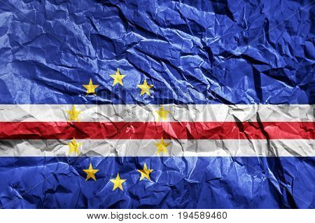 Cape Verde flag painted on crumpled paper background