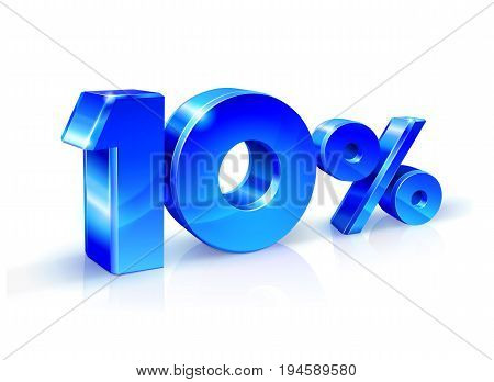 Glossy blue 10 Ten percent off, sale. Isolated on white background, 3D object. Vector illustration.