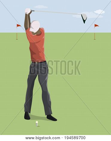Golf player with club o the grass. Blue sky. Active sport. African american player.