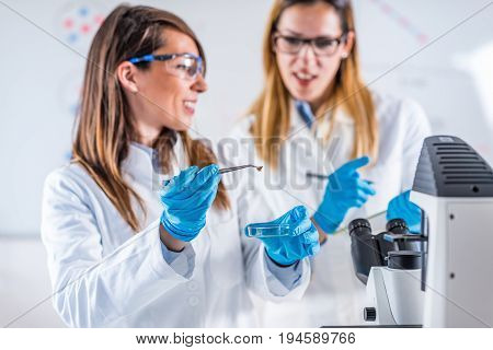 Research In The Lab, Toned Image, Color Image, Two People