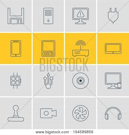 Vector Illustration Of 16 Computer Icons. Editable Pack Of Tablet, Warning, Diskette And Other Elements.