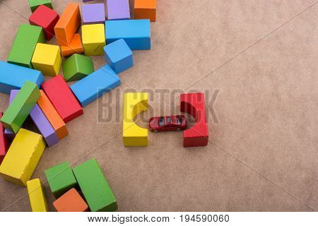 Building Blocks And A Red Toy Car
