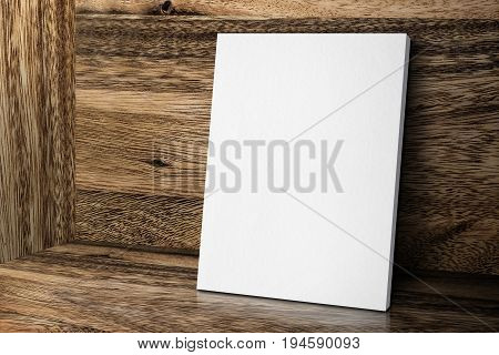 Blank White Canvas Frame Leaning At Wood Wall And Floor, Mock Up Template For Adding Your Design.