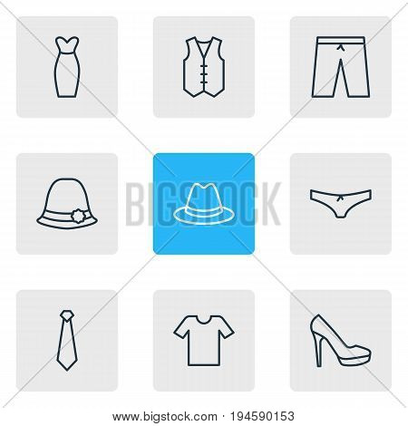 Vector Illustration Of 9 Garment Icons. Editable Pack Of Casual, Panties, Swimming Trunks And Other Elements.