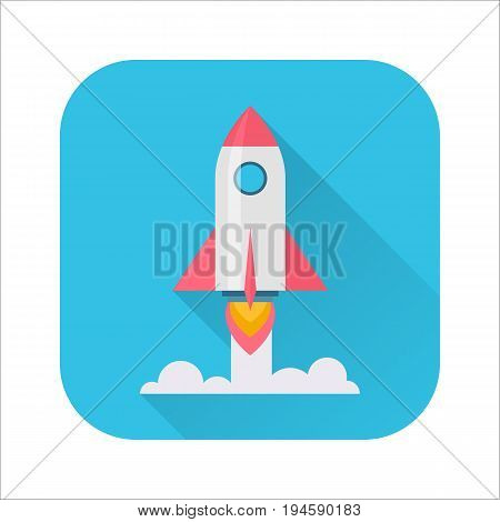 Rocket flat icon. Rocket launch, takeoff phase of the flight icon, new venture or project, start up, innovative plan. Cartoon illustration with long shadow on blue background. Business success concept